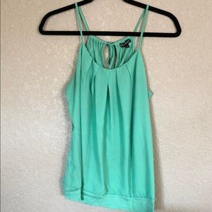 Express tie back halter top, mint green, size M